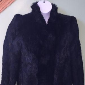 Jackets & Coats - Black Rabbit Fur Belted Full Length Coat